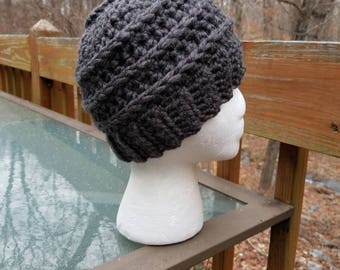 Messy Bun Beanie in Granite - Ready to Ship - Ponytail Hat