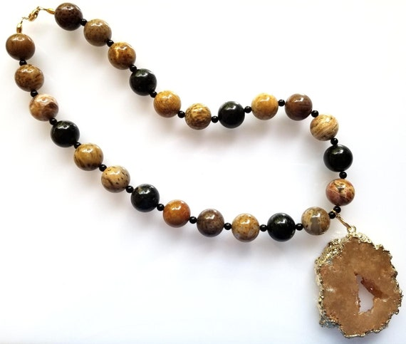 Jasper Necklace, Black and Brown Necklace, Black Necklace, Brown Necklace, Chunky Necklace, Pendant Necklace, Druzy Necklace