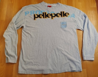 PELLE PELLE t-shirt, vintage gray long sleeve Marc Buchanan jersey, 90s hip hop shirt of 1990s hip-hop clothing, gangsta rap, size XL