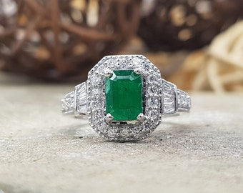 INCOCU Emerald and Diamond Engagement ring, Bridal ring, 14kt White gold diamond wedding ring, Forever Classic, Bridal ring