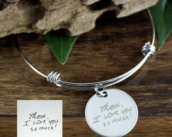 Custom Handwriting Jewelry, Actual Handwriting Bracelet, Personalized Engraved Bracelet, Gift for Mom, Wife, Custom Engraved Bangle