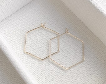Sale - Gold Hexagon Wire Earrings - Simple Gold Hexagon Shaped Hoop Earrings - Gift - Minimalist - Gift For Her - The Lovely Raindrop