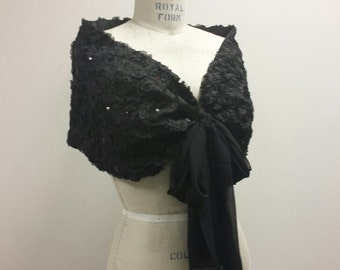 BLACK__ 3D Rosette Lace Wrap W/Sequins, Fully Lined, Party Dress Shawl, (CU13)