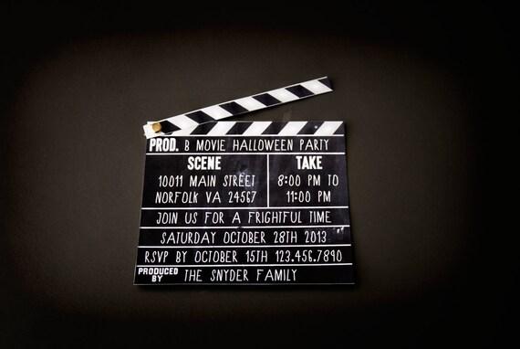 vintage movie invitation printable clapboard chalkboard, Powerpoint templates