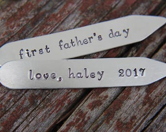 Daddy Collar Stays, Collar Stays for Dad, First Fathers Day Gift, Dads Day Gift, Collar Stays, Personalized Collar Stays, Handstamped
