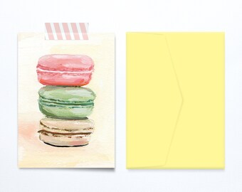 Macarons birthday card illustration, blank, sweet and feminine