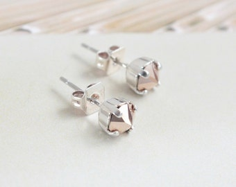 Tiny Swarovksi Crystal Spike Stud Earrings in Rose Gold-- Choose Gold or SIlver Finish
