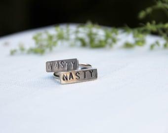 Nasty rings | feminist ring | stamped ring