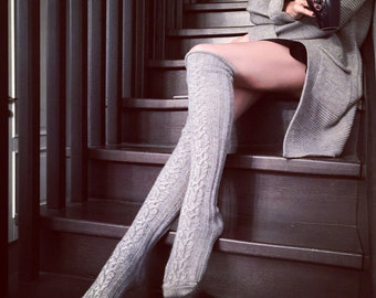 Over Knee High Cable Knit Thick Wool Socks, Grey