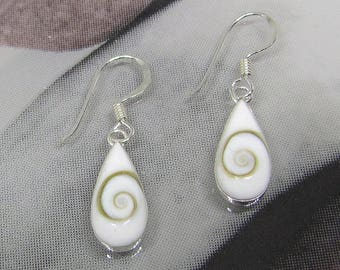 Earrings sterling silver Teardrops. Jewelry 925 sterling silver with white shells. Gift for women