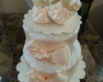 Two Tier Cream Diaper Cake For Baby Girl / Baby Shower Centerpiece / Elegant Diaper Cakes /  Baby Shower Gift