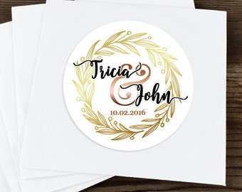 Gold Wreath Stickers, Custom Labels - Round Wedding labels - Bridal Shower stickers - Wedding Candy Stickers - Autumn Decor - Fall Decor