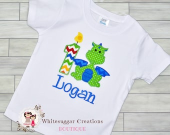 Boy First Birthday Shirt - Green Dragon Embroidered Shirt, Custom Baby Boy Birthday Outfit, Dragon Year, Toddler Birthday Outfit, 3 Year Old