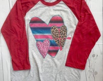 Valentines Shirt, Valentines Womens, Valentines Raglan, Valentine T-shirt, Love Shirt, Valentines Gift, Serape Shirt, Leopard Print Shirt
