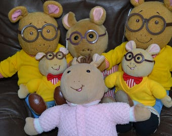 "ARTHUR The Adorable Lovable AARDVARK..  Six ( 6 ) in all.. 3 Lg.17"",  2 med. 10 1/2"",  1 (sister) 14""..Story Book Character. Soft & Cuddly."