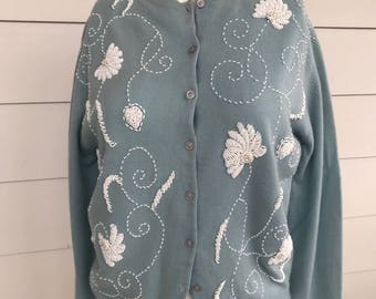 Vintage baby blue sweater with awesome white beading