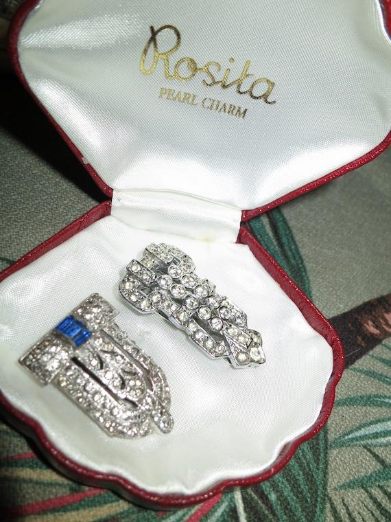 Pair of Vintage 1940s Czech Deco silvertone sapphire rhinestone  dress clips