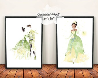 Individual or Set Original Disney Art Print Princess and the Frog Illustration Watercolour/Ink Effect Tiana and Naveen Home Decor Gift Ray