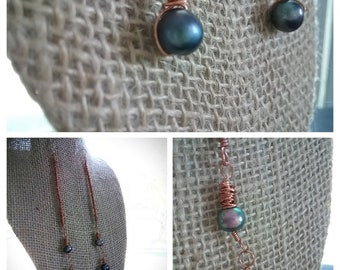 Boho Dangle Earrings | Wrapped copper with cultured freshwater pearls & sterling ear wires