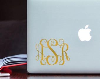 Gold Monogram Sticker - Monogram Decal - Personalized Sticker - Initials Sticker - Initials Decal - Vine Monogram