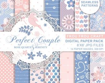 Rose Quartz Serenity Digital Paper Pack Pink Blue Valentine Heart Valentine Floral Bird Seamless Pattern Love Cute Pantone Color Of The Year