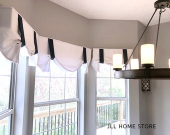 London Pleat Window Valence Custom window valance london pleats ribbon tie valence with ties valance with ties valence fabric cornice tie up