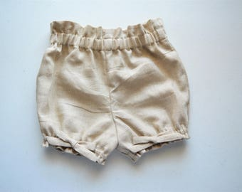 Infant and Toddler Sand Linen Bloomer Bow Shorts Handmade by Papoose Clothing