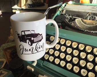 Junkin   Coffee Mug   Old Truck   Vintage Style   Coffee Cup   Junking   Flea Market Style   Vintage Lover   I love Junk   Farmhouse