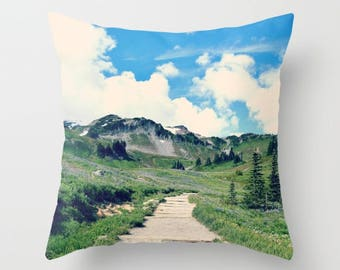 Home Decor, Decorative, Throw Pillow, Mt Rainier, hike, mountain Nature Photography by RDelean