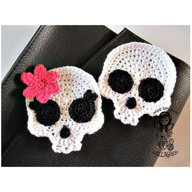 Crochet Pattern Applique Skull Patch Brooch Application