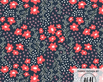 Floral Springtime Navy Fabric / Quilting Fabric / Cotton Fabric / Flower Fabric / Modern Floral Ditsy Fabric Print by the Yard & Fat Quarter