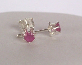 Ruby gesmtone Earrings - Ruby Gemstone  Stud Earrings Post  - Sterling silver