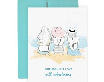 Friendship Love - Greeting Card, Fashion Illustration, Birthday Card, Just Because Card, Friends Card, Art Card