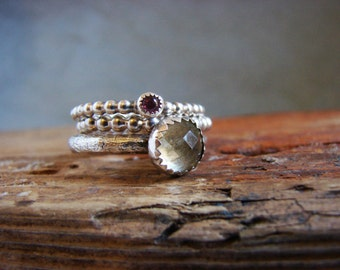 Gemstone Stack Ring Set Tourmaline and Lemon Yellow Quartz Gifts for Her Multi Stone Ring