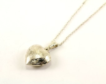 Vintage Heart Shape Locked Pendant Necklace 925 Sterling Silver NC 238