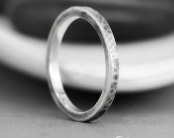 Hammered Wedding Band - Sterling Silver Wedding Band - Square Wedding Band - Rustic Wedding Band - Mens Wedding Ring - Mens Engagement Ring
