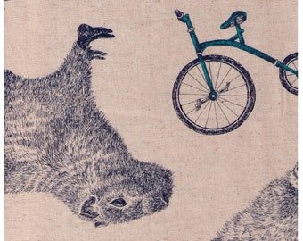 HALF YARD - Kobayashi - Capybaras on Natural with BLUE 273B- 85 cotton 15 linen canvas - Bicycle Tricycle Glasses - Japanese Import Fabric