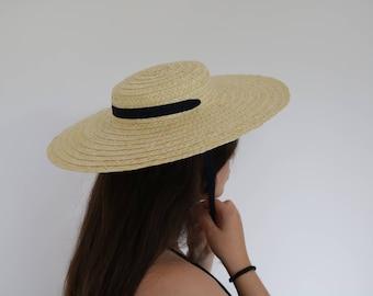 Handmade straw hat, Straw Boater woman hat, summer hat, spring hat, Wedding Hat, chapeau de paille, Strohhut, sombrero de paja.