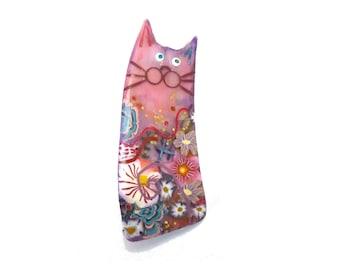 pastel violet cat broche, bijoux animaux, broche chat nommé ALICE, kitty fait à la main, cadeau pour les amoureux des chats, chat Collector, idée de cadeau fête des mères