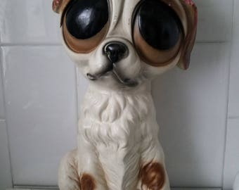 RARE Vintage Large BIG EYES Puppy Dog Ornament/bank Statue 1960's Chalkware