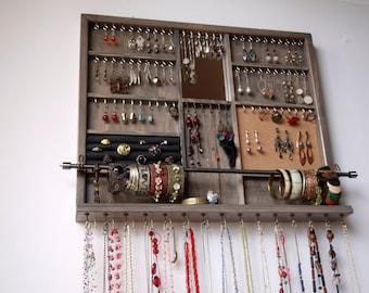 Jewelry organizer + mirror. Large earrings display  shelf. Gray stain jewelry storage.Wooden wall mount earring holder . earrings storage