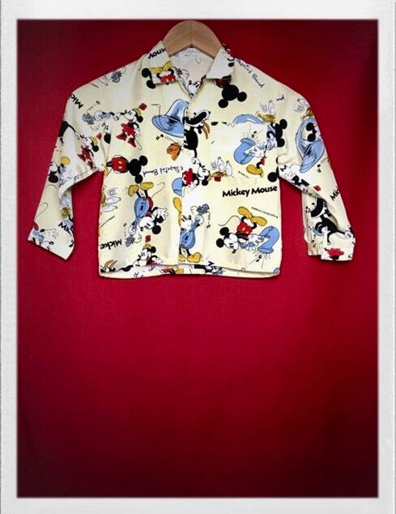 Vintage Kid's Mickey Mouse Button Down Shirt Fits Size 4-6