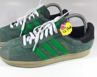 Adidas Shoes Vintage Rare Adidas Gazelle Green Stripe Rare Hip Hop Wear,  Gazelle Sport Shoes