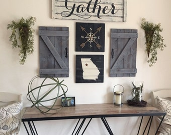 GATHER SIGN, 5 Piece SET, Rustic Gallery Wall Set, Rustic Gather Sign,