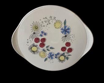 Edelkeramik Grünstadt 2980: sixties cake plate, happy design, Germany