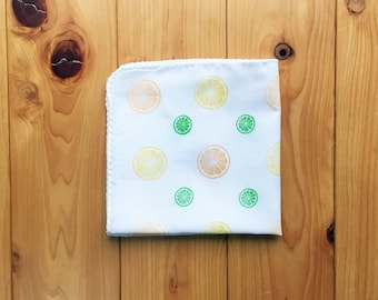 citrus handkerchief | ladies summer hankie | eco friendly hand wipe | cotton nose wipe | japanese hand towel | fabric face wipe
