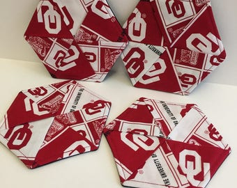 Licenced OU Oklahoma Sooners Hexagon Fabric Waterproof coasters - Drink Fashion Coaster- Single (Qty 1)