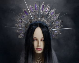 Filigree Halo  - Gothic headpiece - headpiece with spikes  - tribal headpiece - crystal halo - fantasy crown - fairytale crown - fairy crown