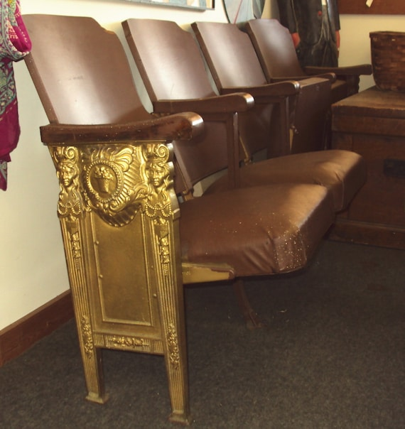 Like this item? - Antique Theater Seats Row Of 4 Art Deco Haywood Wakefield