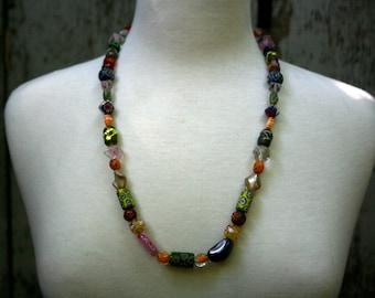 Vintage Millefioni Glass Beaded Necklace, Women's Necklace